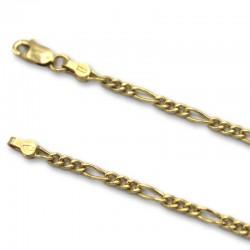 Cadena de oro barbada intercalada 3x1