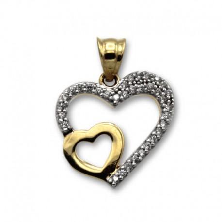 Colgante de oro doble corazon con piedras