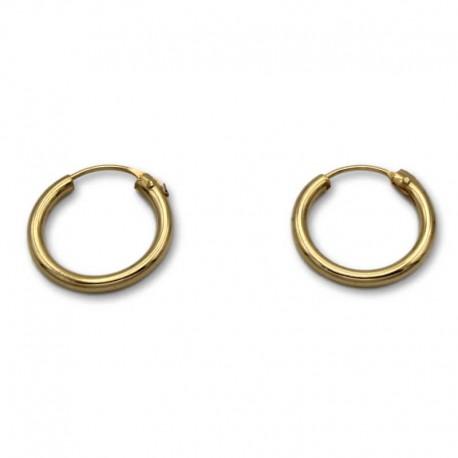 Pendiente aro redondo 13 mm de oro