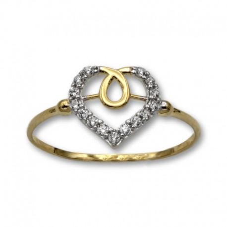 Sortija de oro corazón calado bicolor circonitas