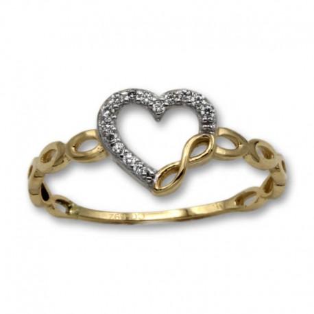 Sortija de oro corazón circonitas e infinito