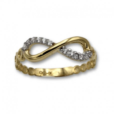 Sortija de oro infinito con circonitas