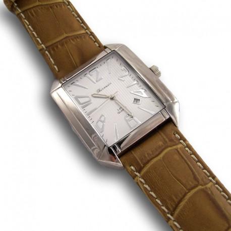 Reloj de acero y piel, marca thermidor. esfera blanca y piel