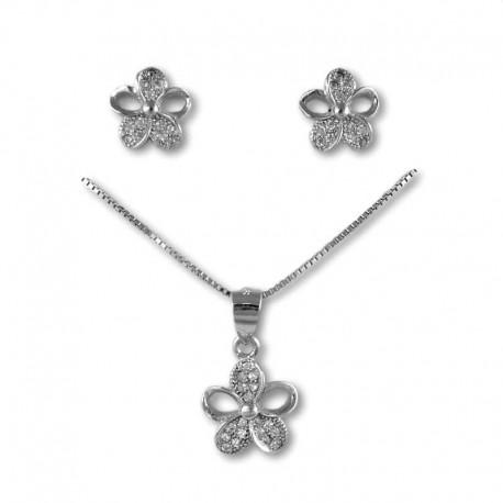Conjunto flor calada en plata y circonitas