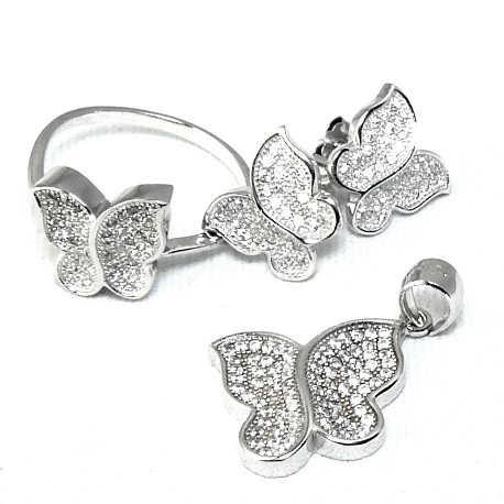 Conjunto de mariposas en plata