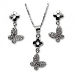 Conjunto mariposa y flor en plata con circonitas