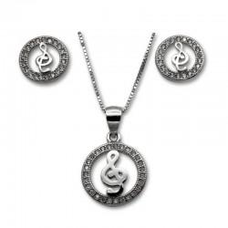 Conjunto clave sol en plata y circonitas