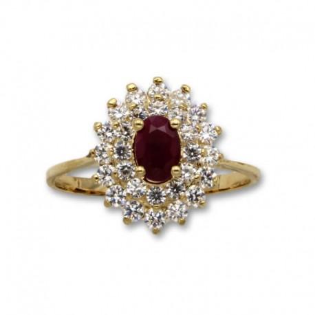Sortija de oro con circonitas y rubí