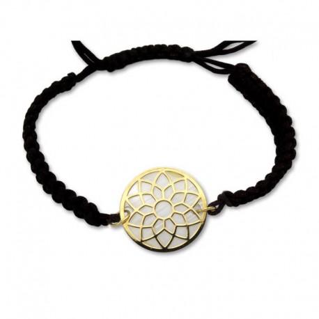 Pulsera de oro flor de loto, nacar y cuerda adaptable