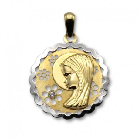 Medalla virgen niña de oro redonda 18mm