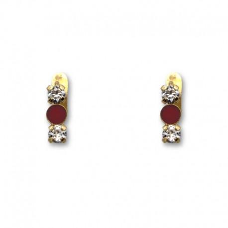 Pendiente de oro dos circonitas y piedra color coral 1ª postura