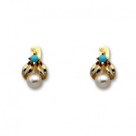 Pendiente de oro hoja turquesa y perla 1ª postura