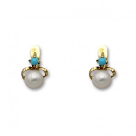 Pendiente de oro lazo turquesa y perla 1ª postura