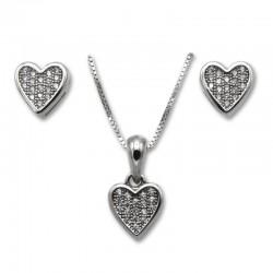 Conjunto corazones en plata y circonitas