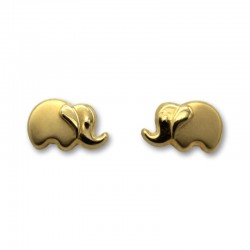 Pendiente de oro elefante matizado