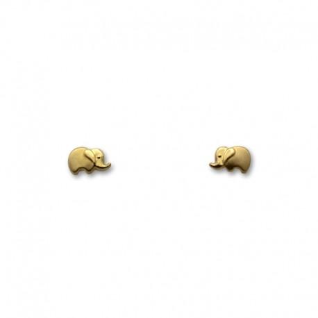 Pendiente de oro elefante matizado pequeño