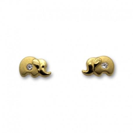 Pendiente de oro elefante matizado pequeño con circonita