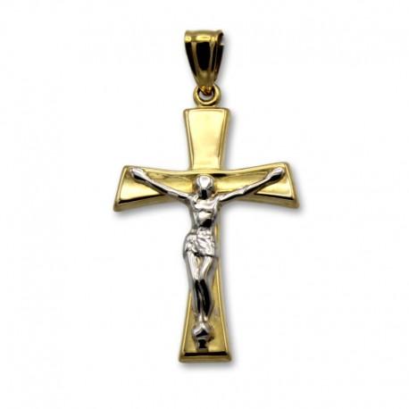 Cruz de oro bicolor con cristo en oro blanco