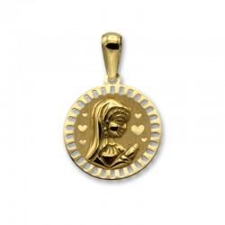 Medalla virgen niña de oro corazones