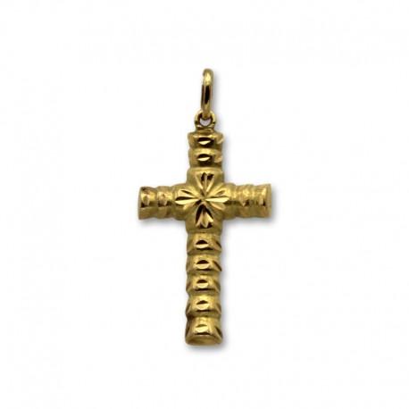 Cruz de oro con relieves y tallas