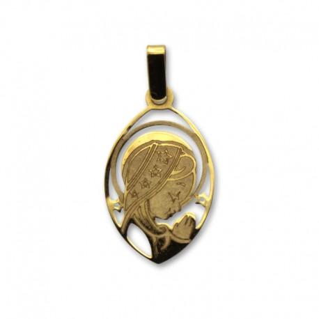 Medalla de oro de la virgen niña oval a láser