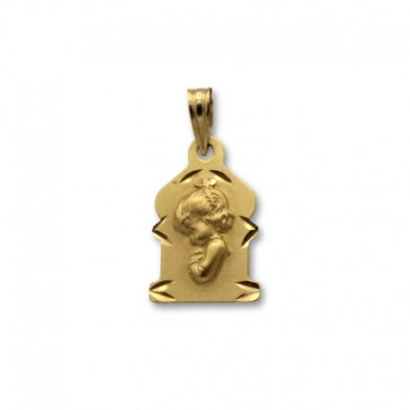 Medalla de oro de la virgen niña vidriera