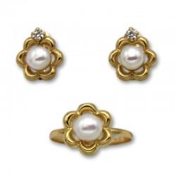 Juego comunion en oro de flor con perla