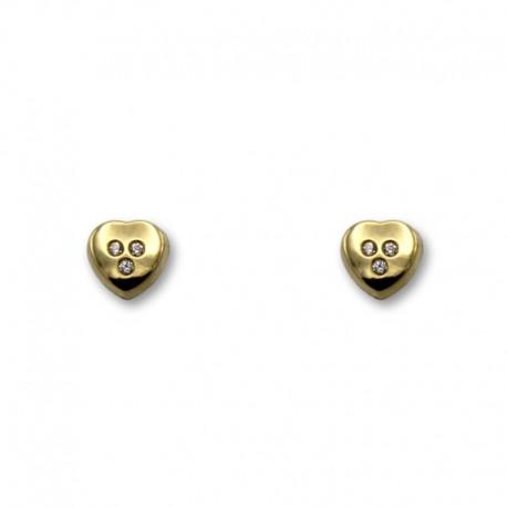 Pendiente de oro de corazon con piedras pequeño