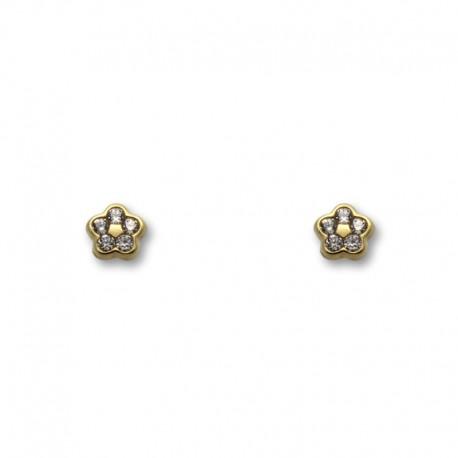 Pendiente de oro flor con piedras pequeño