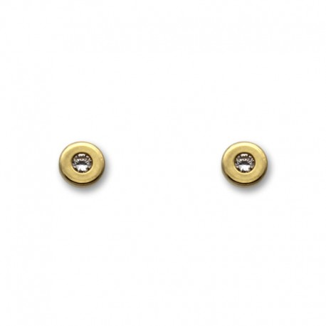 Pendiente de oro con forma de botón 5mm