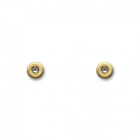 Pendiente de oro con forma de botón 4 mm