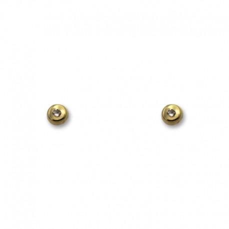Pendiente de oro con forma de botón 3mm