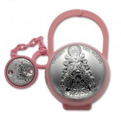 Set de pinza y guarda chupete Virgen del Rocio rosa