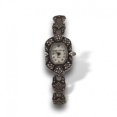 Reloj en plata con marcasitas para mujer Thermidor