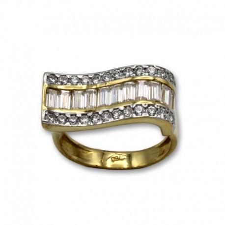 Sortija de oro con forma de ola y circonitas