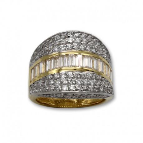 Sortija oro con forma oval y circonitas en el canto