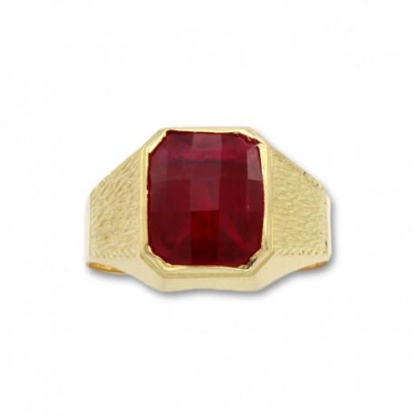 Sello de oro rectangular con tallas y rubí