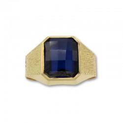 Sello de oro rectangular con tallas y zafiro