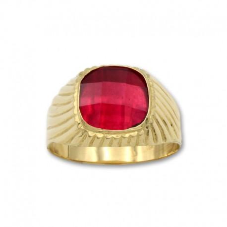 Sello de oro cuadrado con relieve y rubí