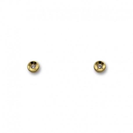 Pendiente de oro con forma de boton en relieve 3mm