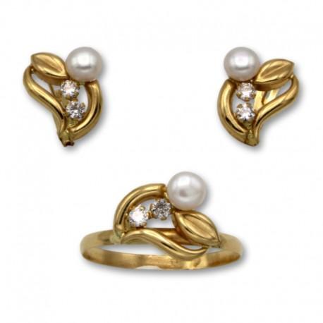 Juego de comunion en oro hoja y perla