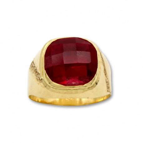 sello de oro cuadrado con talla y rubí