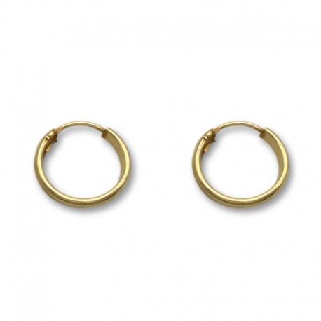 Pendiente aro media caña 11 mm de oro
