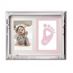 Marco de foto infantil para huellas osito rosa