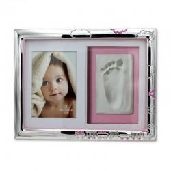 Marco de foto infantil para huellas tren rosa