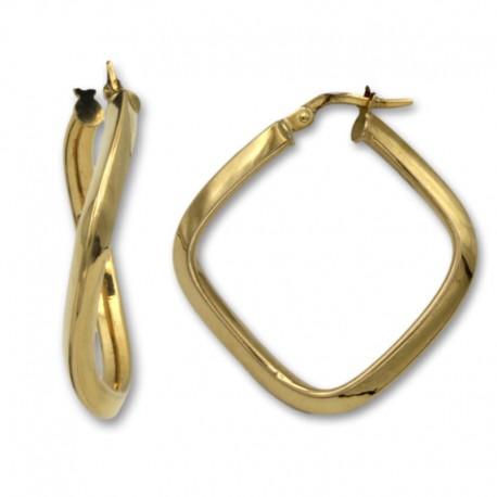 Pendiente aro de oro con forma cuadrada
