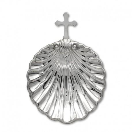 Concha para bautismo en plata con cruz
