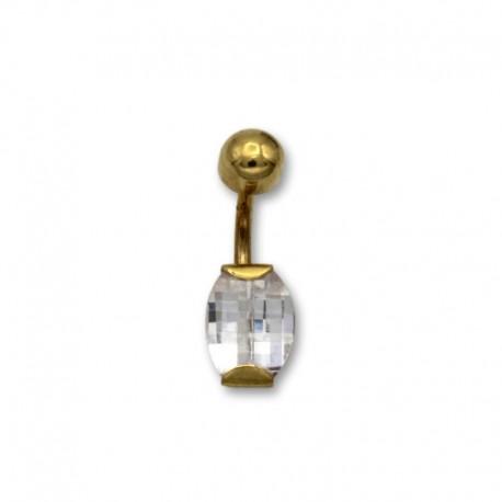 Piercing de ombligo en oro con circonita ovalada