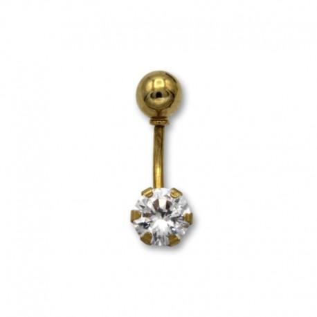 Piercing de ombligo en oro con circonita redonda