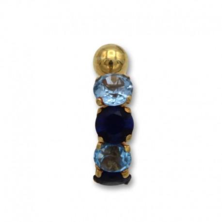 Piercing de ombligo en oro con piedras en linea tonos azules